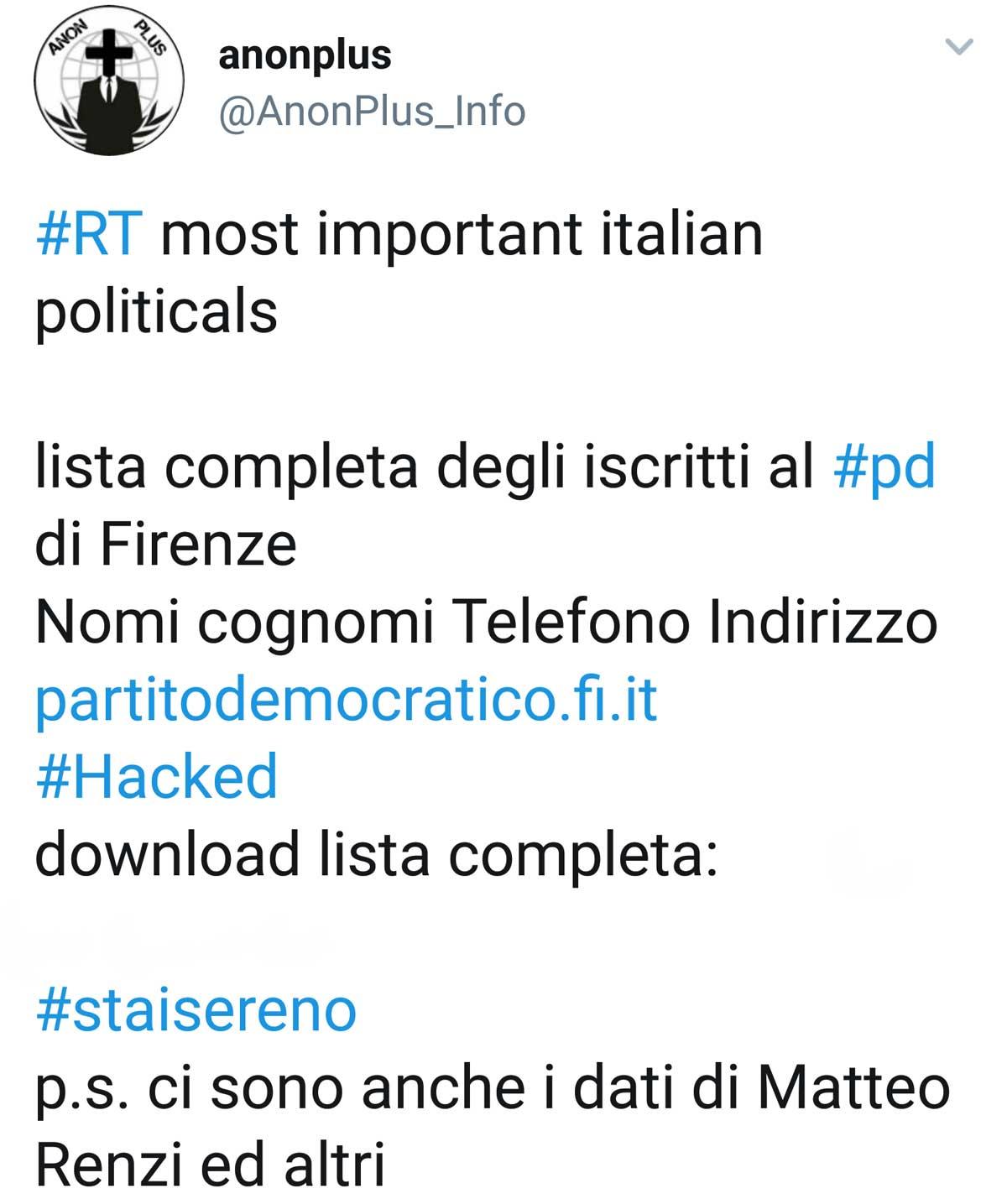 Attacco hacker al Pd, online i dati di Renzi