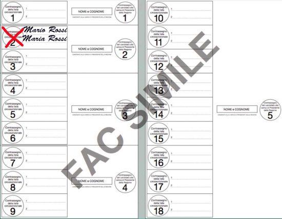 Elezioni regionali - Esempio f