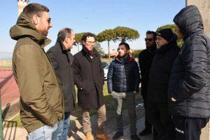 Montalto - Emergenza neve - La Viterbese si allena allo stadio Martelli