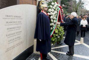 Roma - Strage di via Fani - Mattarella depone corona
