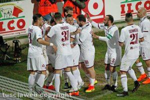 Sport - Calcio - L'esultanza dei calciatori del Livorno