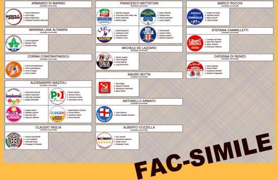 Scheda Senato Regione Lazio Collegio plurinominale2 Uninominale5