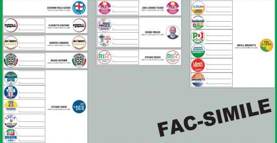 Scheda elezioni regionali Lazio
