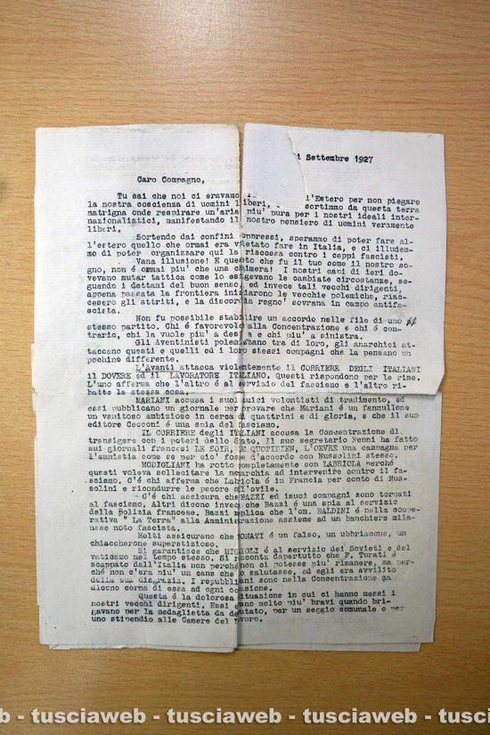 Archivio di Stato di Viterbo - La lettera scritta da Parigi da un gruppo di operai antifascisti in esilio