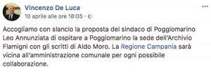 Aldo Moro, il messaggio del governatore della Campania Vincenzo De Luca sull'archivio Flamigni