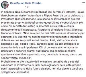 Schiaffone futurista - Il post Facebook di Casapound Italia con le dichiarazioni di Gianluca Iannone