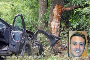 Viterbo - L'incidente mortale sulla Cimina - Nel riquadro Alessio Forliti