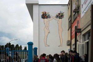 Il murales all'Orioli dedicato a Silvia Tabacchi