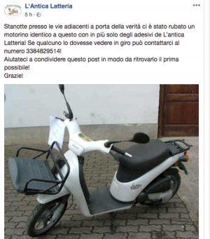 Motorino rubato alla'Antica Latteria - L'appello su facebook