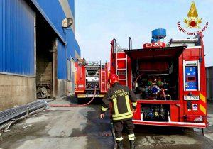 Padova - L'intervento dei vigili del fuoco nell'acciaieria