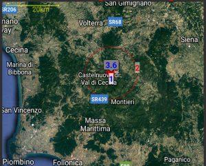 Terremoto in provincia di Siena - Epicentro a Radicondoli
