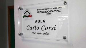 """Viterbo - Itt """"L. Da Vinci"""" - Aula intitolata a Carlo Corsi"""