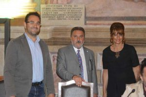 Enrico Panunzi con il provveditore Peroni e il segretario regionale della Uil Somigli