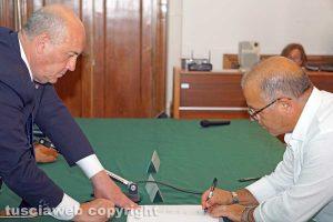 Viterbo - La firma del protocollo sulla legalità autostrada Tarquinia-Civitavecchia