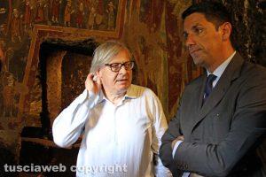 Sutri - Vittorio Sgarbi e l'assessore Felice Casini all'interno del Mitreo