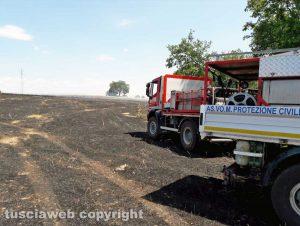 Incendio di sterpaglie - L'intervento dei vigili del fuoco