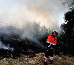 Tarquinia - Vasto incendio in località Cavalline - Protezione civile in azione