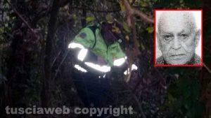 Un intervento di ricerca persona - Nel riquadro: Fernando Perugini, il 94enne scomparso da Tarquinia