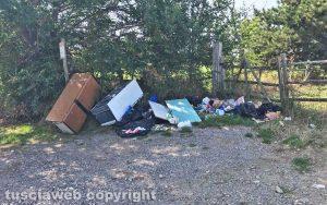 Viterbo - Cumulo di immondizia e rifiuti al parco dell'Arcionello