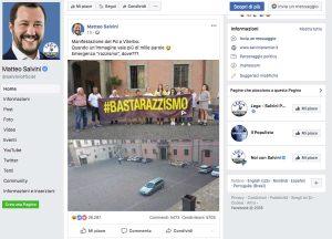 Manifestazione antirazzismo - Con un post Matteo Salvini sfotte il Pd viterbese