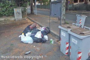Viterbo - Buste della spazzatura in via Monte Cervino