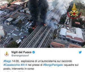 Bologna - Autocisterna esplode in tangenziale