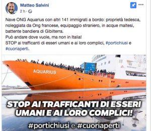 Nave Aquarius - Il post di Salvini