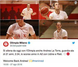 Milano - Il benvenuto a Andrea La Torre