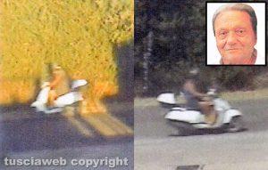Tuscania - Omicidio Angelo Gianlorenzo - Aldo Sassara mentre va e torna dalla campagna - Nel riquadro: Angelo Gianlorenzo, la vittima