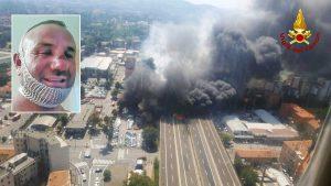 Bologna - Tir esplode sul raccordo - Nel riquadro: Antonio Verdicchio, il camionista sopravvissuto