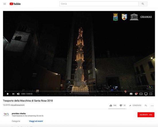 Santa Rosa - La pagina della diretta Youtube