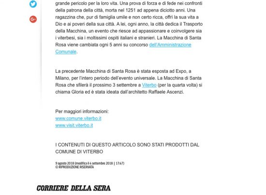 Santa Rosa - La pagina del Corriere della Sera