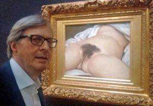 La foto di Sgarbi con il nudo di Courbet