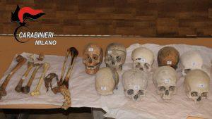 Teschi e resti umani sequestrati