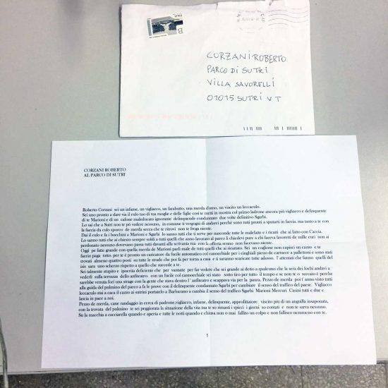 Sutri - La lettera in cui vengono minacciati Vittorio Sgarbi e i suoi collaboratori
