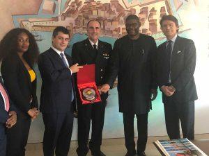 Il ministro degli Esteri della Repubblica di Liberia Gbehzohngar Milton Findley a Civitavecchia
