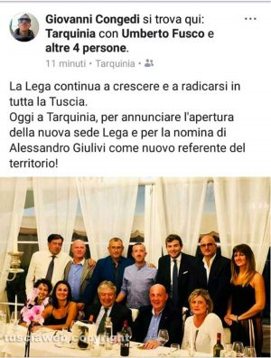 Tarquinia - Il post pubblicato dal responsabile provinciale della Lega