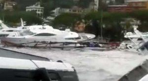 Il porto di Rapallo devastato