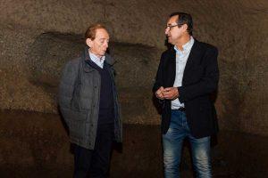 Osvaldo Bevilacqua con il fondatore di Viterbo Sotterranea Sergio Cesarini