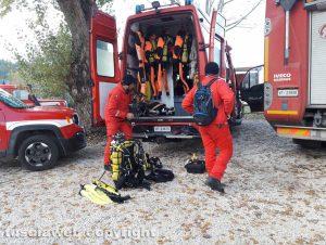 Lago di Bolsena - Le ricerche del disperso - Il nucleo sommozzatori dei vigili del fuoco