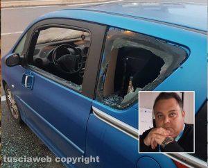 Viterbo - L'auto devastata dai vandali - Nel riquadro Luca Talucci