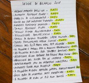 L'elenco dei provvedimenti scritto da Di Maio
