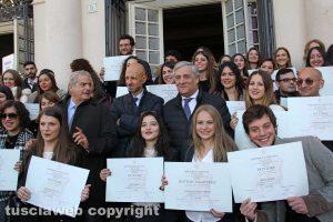 Gli studenti dell'Unitus con Antonio Tajani