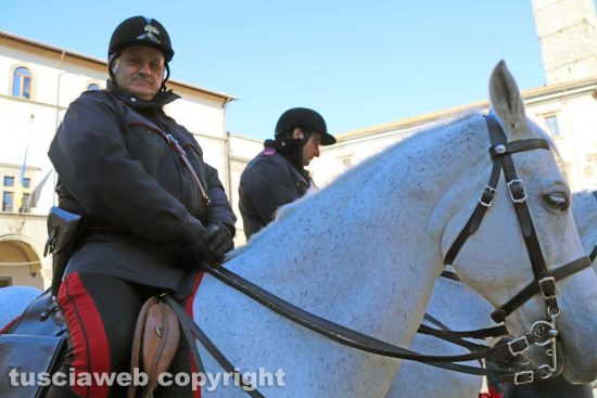 Viterbo - carabinieri a cavallo per le vie del centro