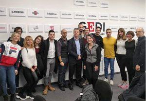Un gruppo di studenti Unitus nella sede del gruppo editoriale Gedi