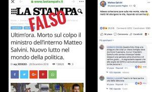 La falsa notizia della morte di Matteo Salvini