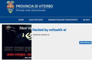 Il messaggio dell'hacker sul sito della Provincia