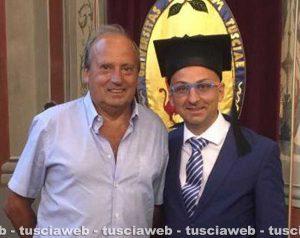 Sport - Calcio - Aia Viterbo - Il presidente Luigi Gasbarri con l'arbitro Antonio Leonetti il giorno della laurea