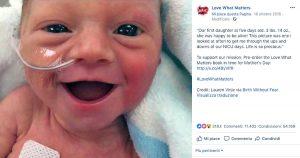 Bimba nata prematura - Il post su Facebook