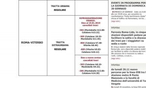 Ferrovia Roma-Civita-Viterbo - La nuova comunicazione dei treni cancellati